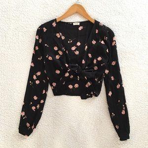 Brandy Melville black pink floral Coco wrap top